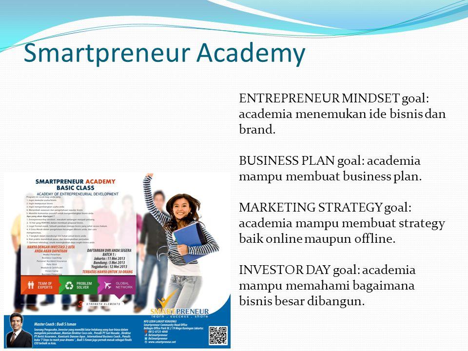 Smartpreneur Academy ENTREPRENEUR MINDSET goal: academia menemukan ide bisnis dan brand. BUSINESS PLAN goal: academia mampu membuat business plan.