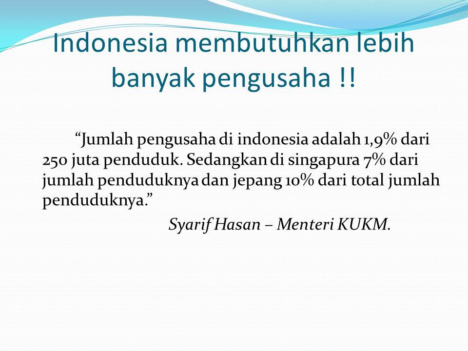 Indonesia membutuhkan lebih banyak pengusaha !!