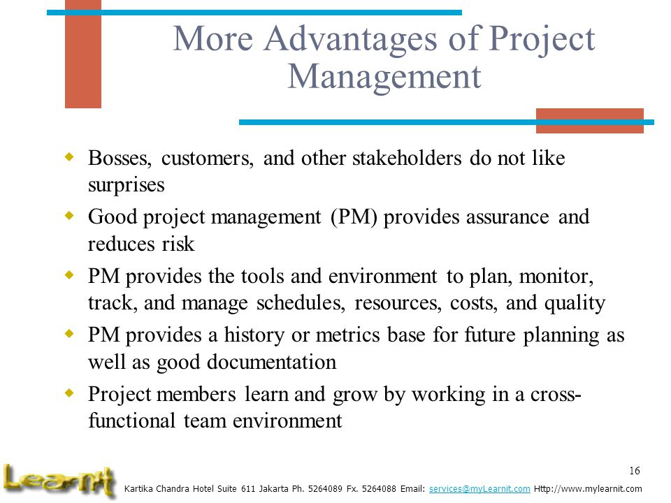 More Advantages of Project Management