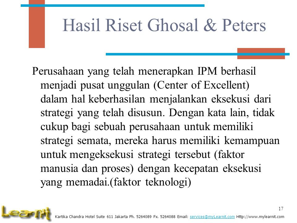 Hasil Riset Ghosal & Peters