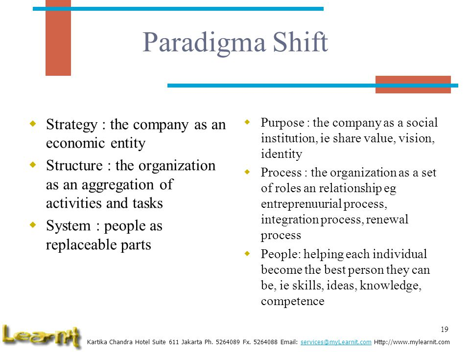 Paradigma Shift Strategy : the company as an economic entity