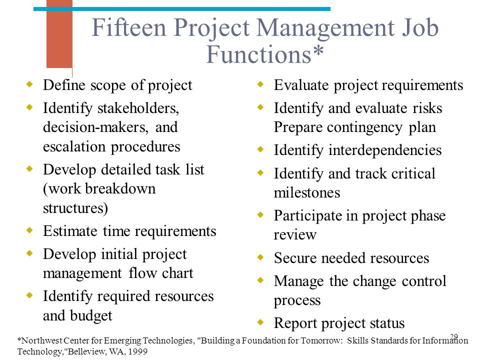 Fifteen Project Management Job Functions*