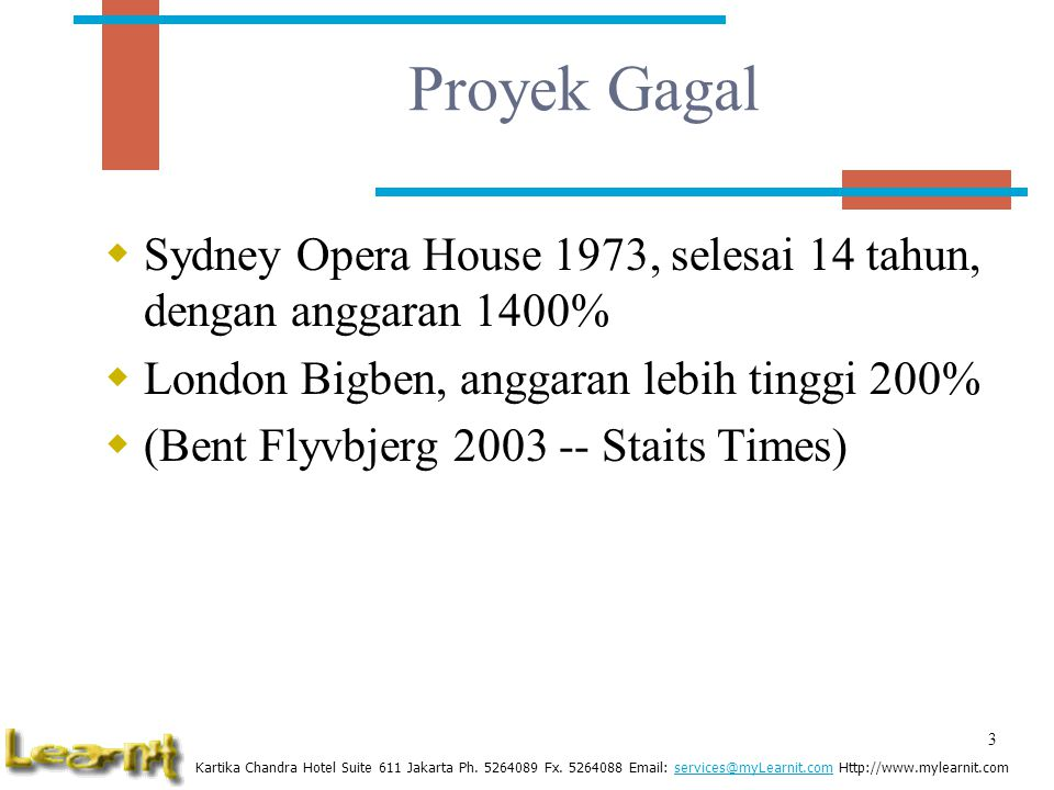Proyek Gagal Sydney Opera House 1973, selesai 14 tahun, dengan anggaran 1400% London Bigben, anggaran lebih tinggi 200%
