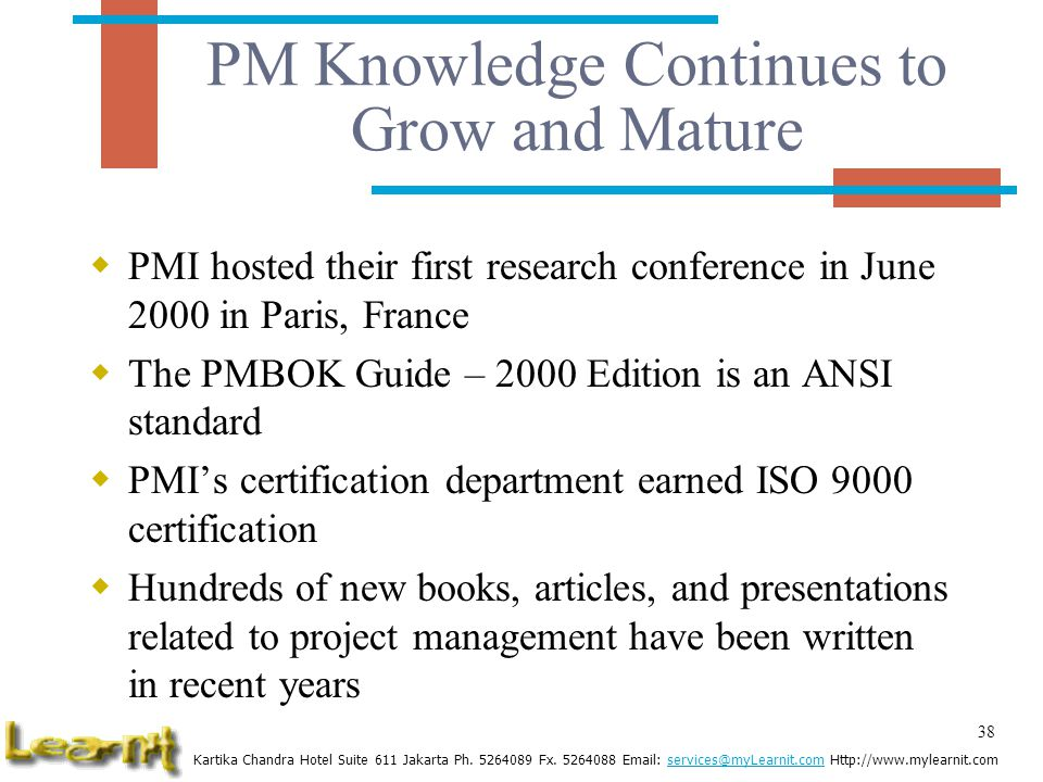 PM Knowledge Continues to Grow and Mature