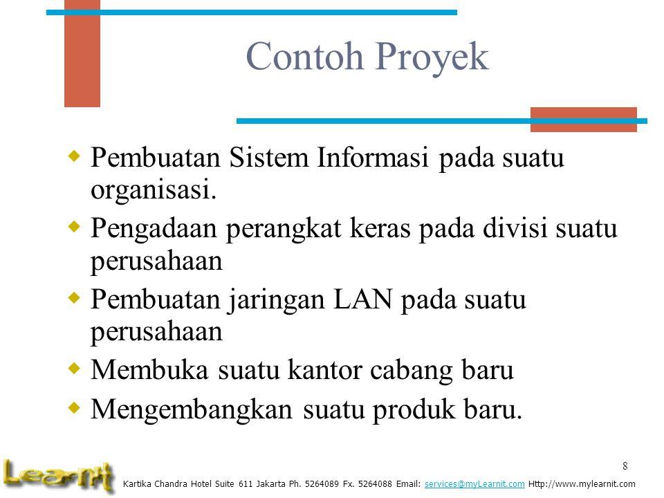 Contoh Proyek Pembuatan Sistem Informasi pada suatu organisasi.