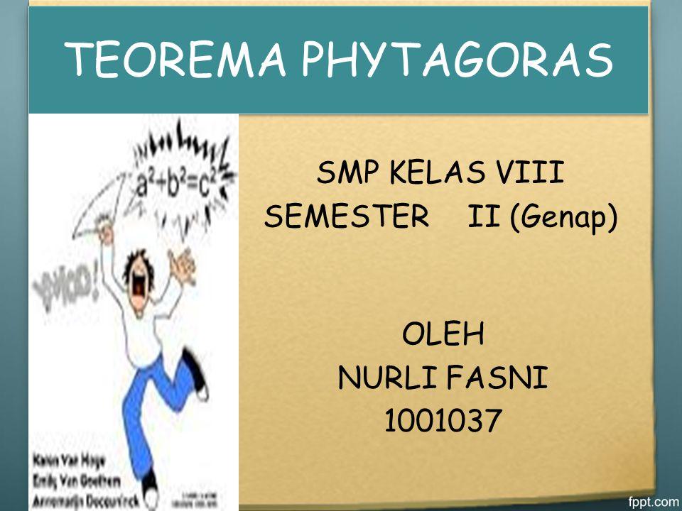TEOREMA PHYTAGORAS SMP KELAS VIII SEMESTER II (Genap) OLEH NURLI FASNI
