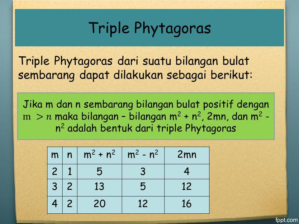 Triple Phytagoras Triple Phytagoras dari suatu bilangan bulat sembarang dapat dilakukan sebagai berikut: