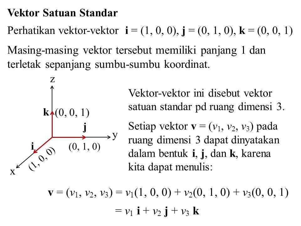 Vektor Satuan Standar Perhatikan vektor-vektor i = (1, 0, 0), j = (0, 1, 0), k = (0, 0, 1)