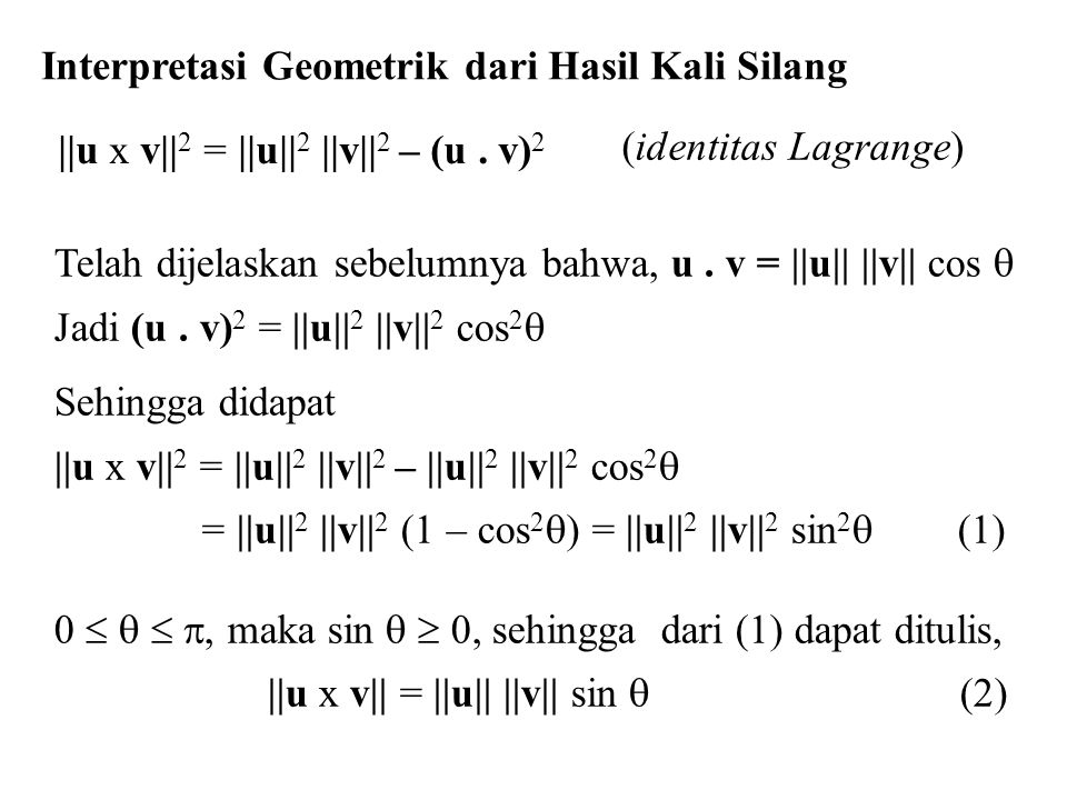 Interpretasi Geometrik dari Hasil Kali Silang