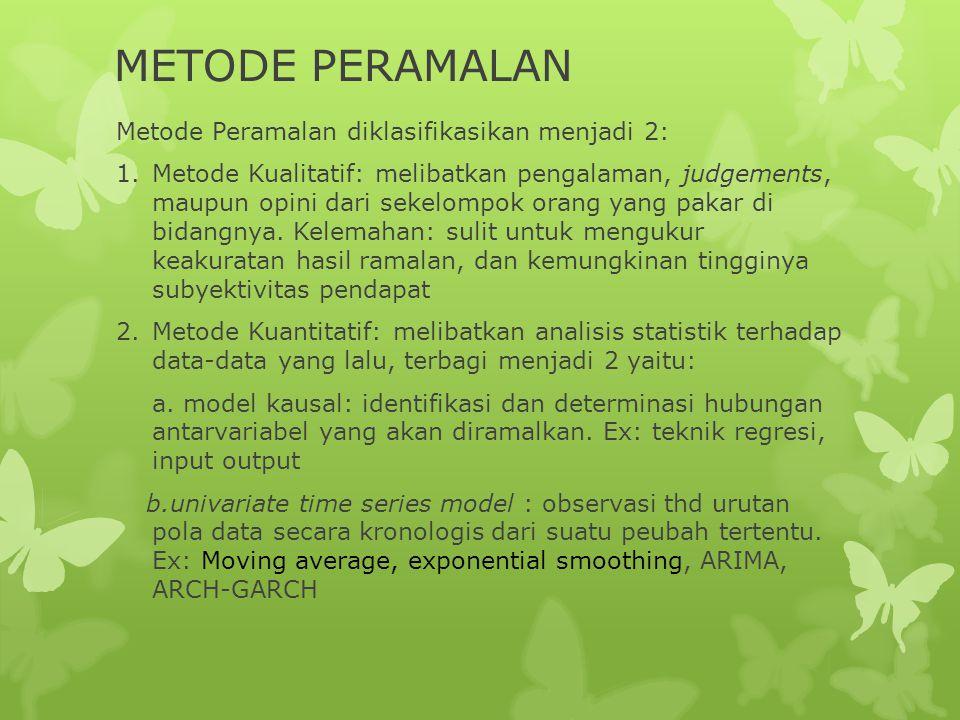 METODE PERAMALAN Metode Peramalan diklasifikasikan menjadi 2: