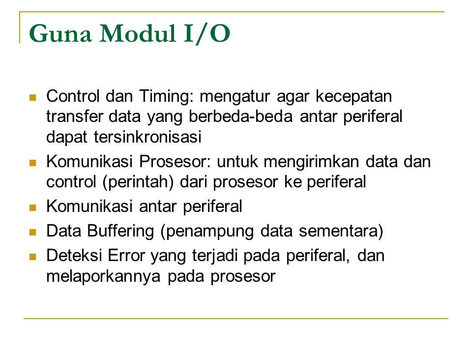 Guna Modul I/O Control dan Timing: mengatur agar kecepatan transfer data yang berbeda-beda antar periferal dapat tersinkronisasi.