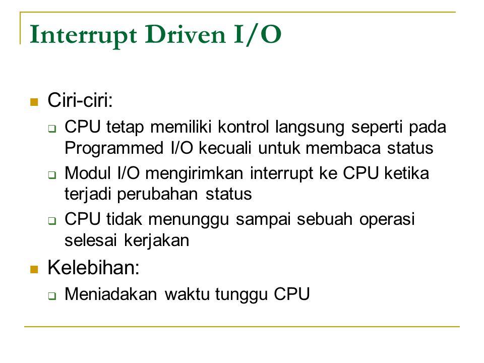 Interrupt Driven I/O Ciri-ciri: Kelebihan: