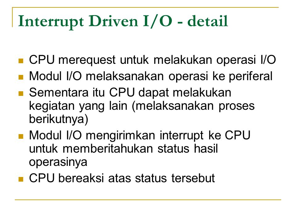Interrupt Driven I/O - detail