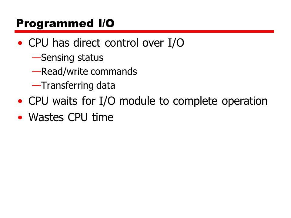 CPU has direct control over I/O