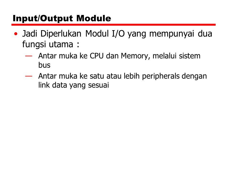 Jadi Diperlukan Modul I/O yang mempunyai dua fungsi utama :