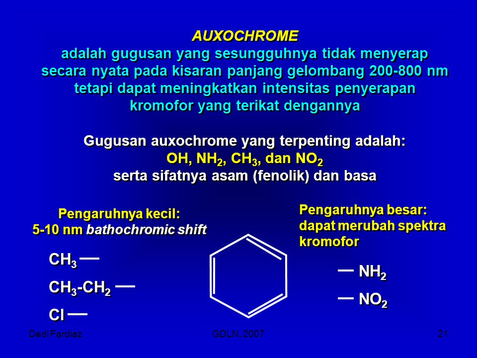 CH3 NH2 CH3-CH2 NO2 Cl AUXOCHROME