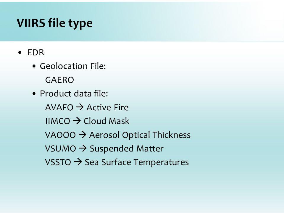 VIIRS file type EDR Geolocation File: GAERO Product data file: