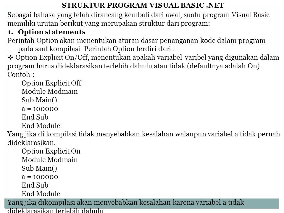 STRUKTUR PROGRAM VISUAL BASIC .NET