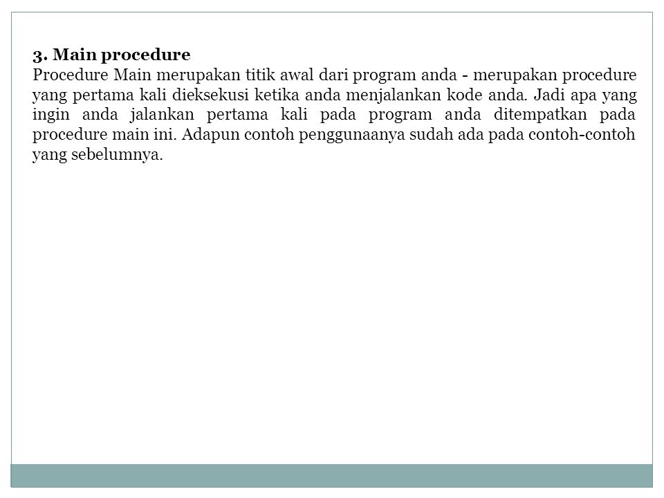 3. Main procedure