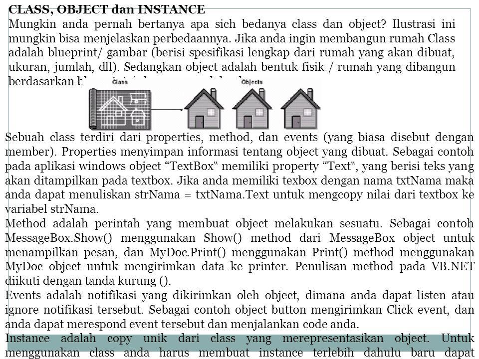 CLASS, OBJECT dan INSTANCE