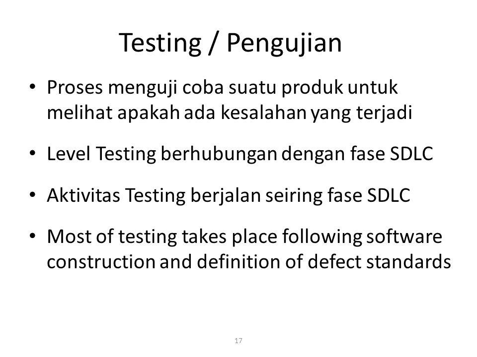 Testing / Pengujian Proses menguji coba suatu produk untuk melihat apakah ada kesalahan yang terjadi.