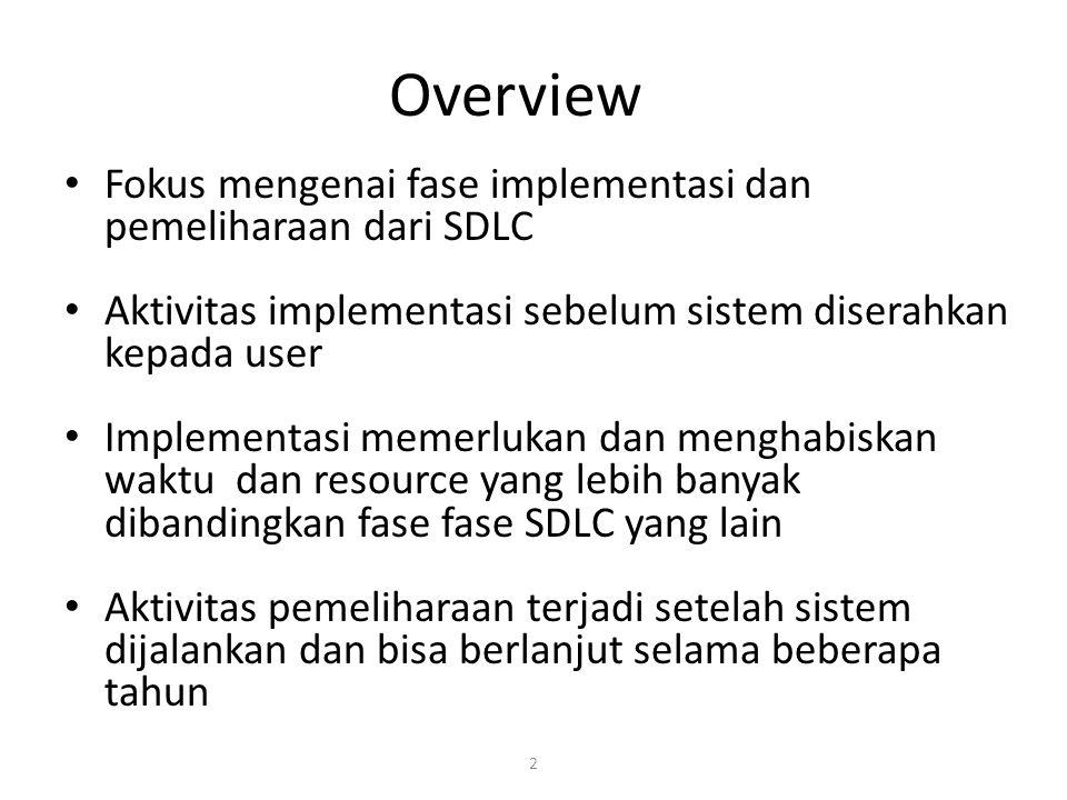 Overview Fokus mengenai fase implementasi dan pemeliharaan dari SDLC