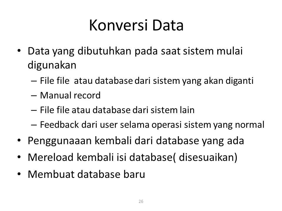 Konversi Data Data yang dibutuhkan pada saat sistem mulai digunakan
