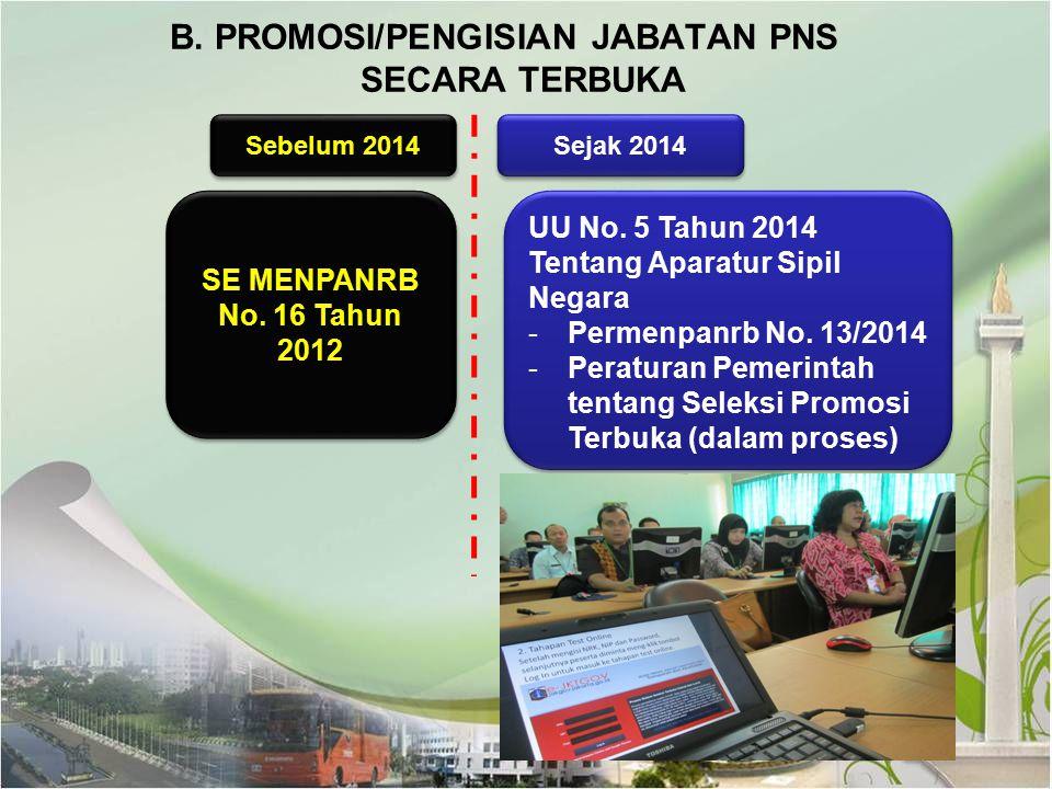 B. PROMOSI/PENGISIAN JABATAN PNS SECARA TERBUKA