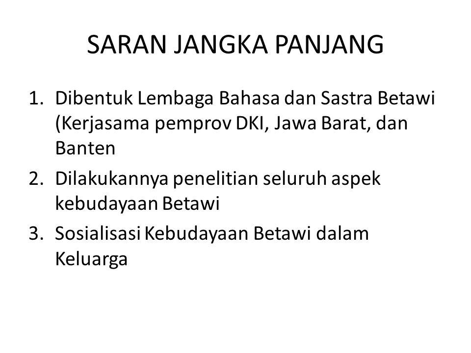 SARAN JANGKA PANJANG Dibentuk Lembaga Bahasa dan Sastra Betawi (Kerjasama pemprov DKI, Jawa Barat, dan Banten.