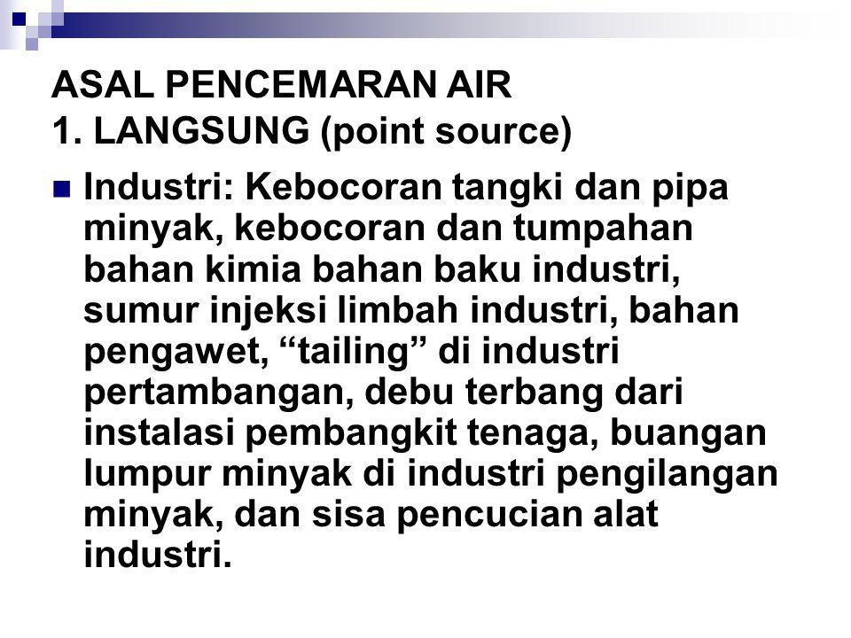 ASAL PENCEMARAN AIR 1. LANGSUNG (point source)