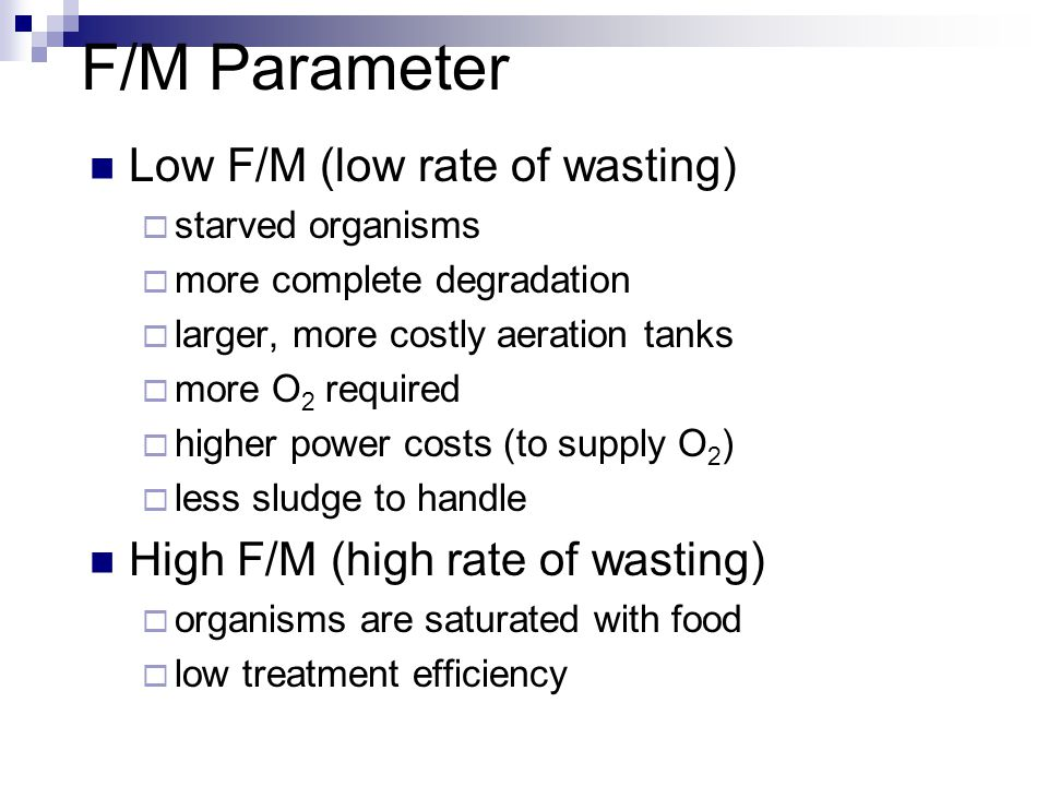F/M Parameter Low F/M (low rate of wasting)