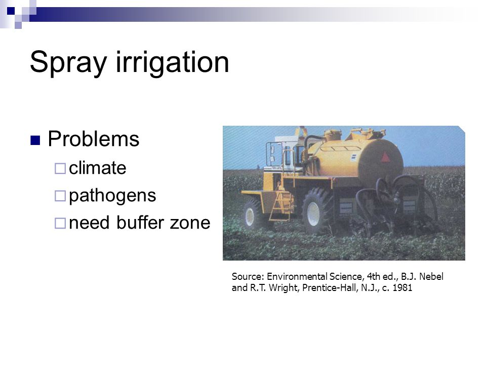 Spray irrigation Problems climate pathogens need buffer zone