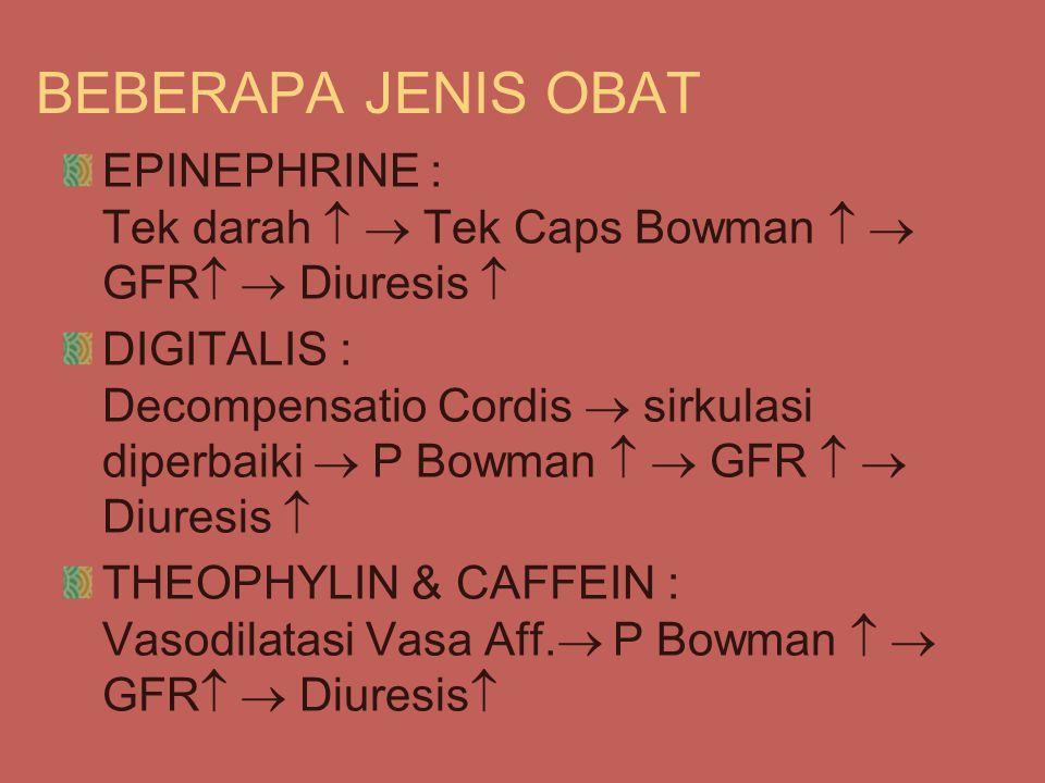 BEBERAPA JENIS OBAT EPINEPHRINE : Tek darah   Tek Caps Bowman   GFR  Diuresis 
