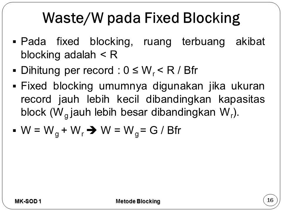 Waste/W pada Fixed Blocking