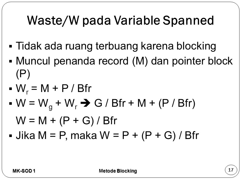 Waste/W pada Variable Spanned