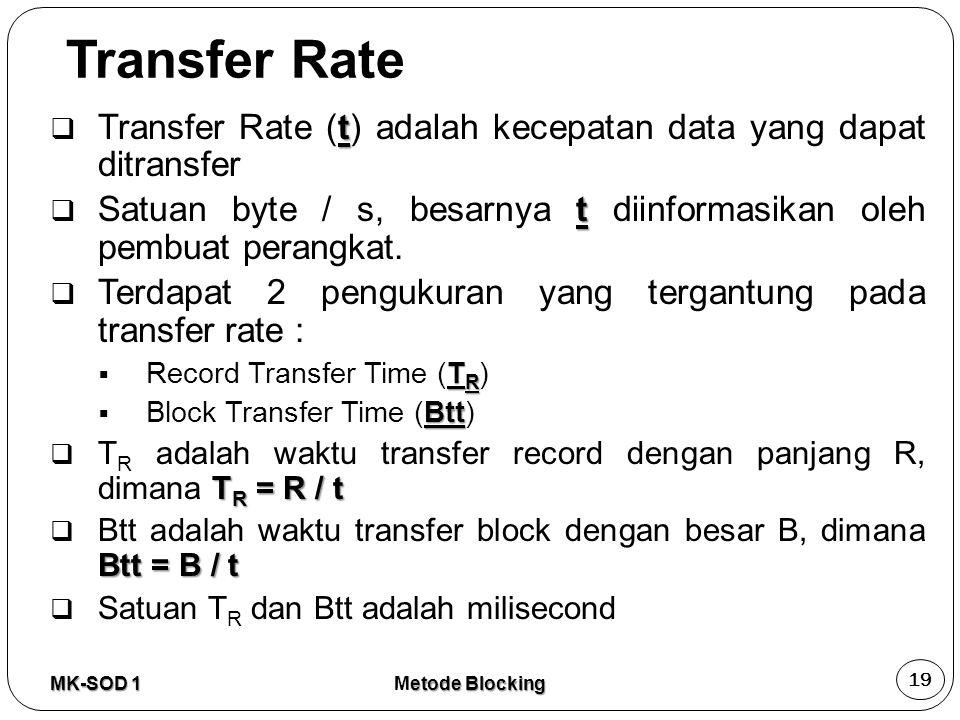 Transfer Rate Transfer Rate (t) adalah kecepatan data yang dapat ditransfer. Satuan byte / s, besarnya t diinformasikan oleh pembuat perangkat.