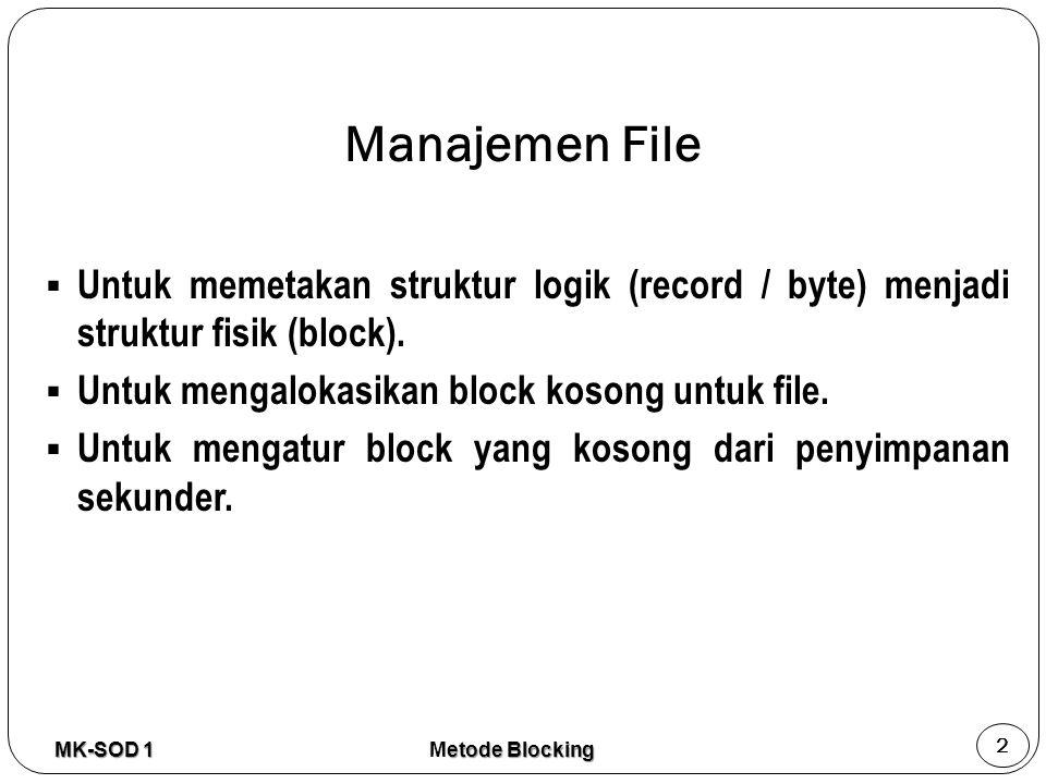 Manajemen File Untuk memetakan struktur logik (record / byte) menjadi struktur fisik (block). Untuk mengalokasikan block kosong untuk file.