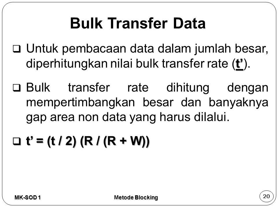 Bulk Transfer Data Untuk pembacaan data dalam jumlah besar, diperhitungkan nilai bulk transfer rate (t').