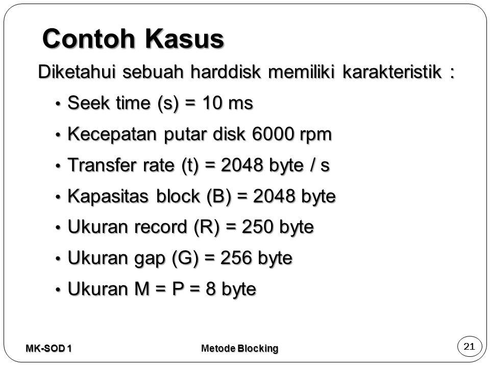 Contoh Kasus Diketahui sebuah harddisk memiliki karakteristik :