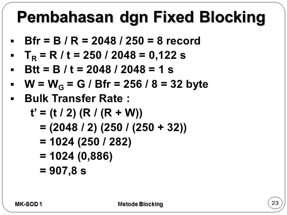 Pembahasan dgn Fixed Blocking