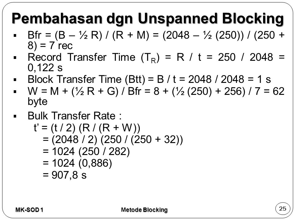 Pembahasan dgn Unspanned Blocking