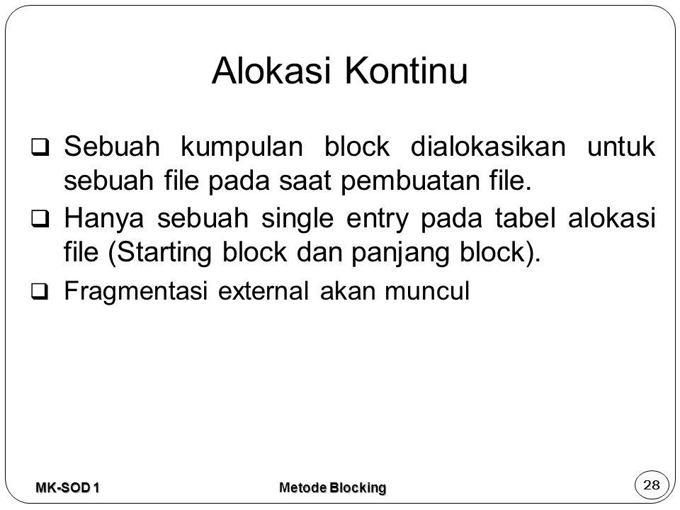 Alokasi Kontinu Sebuah kumpulan block dialokasikan untuk sebuah file pada saat pembuatan file.