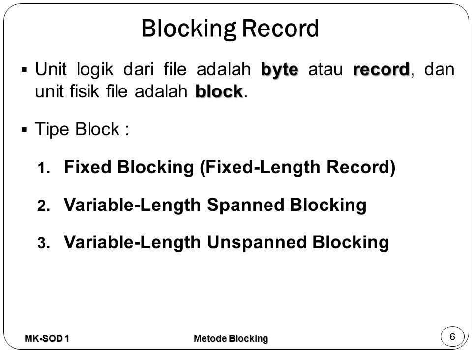Blocking Record Unit logik dari file adalah byte atau record, dan unit fisik file adalah block. Tipe Block :