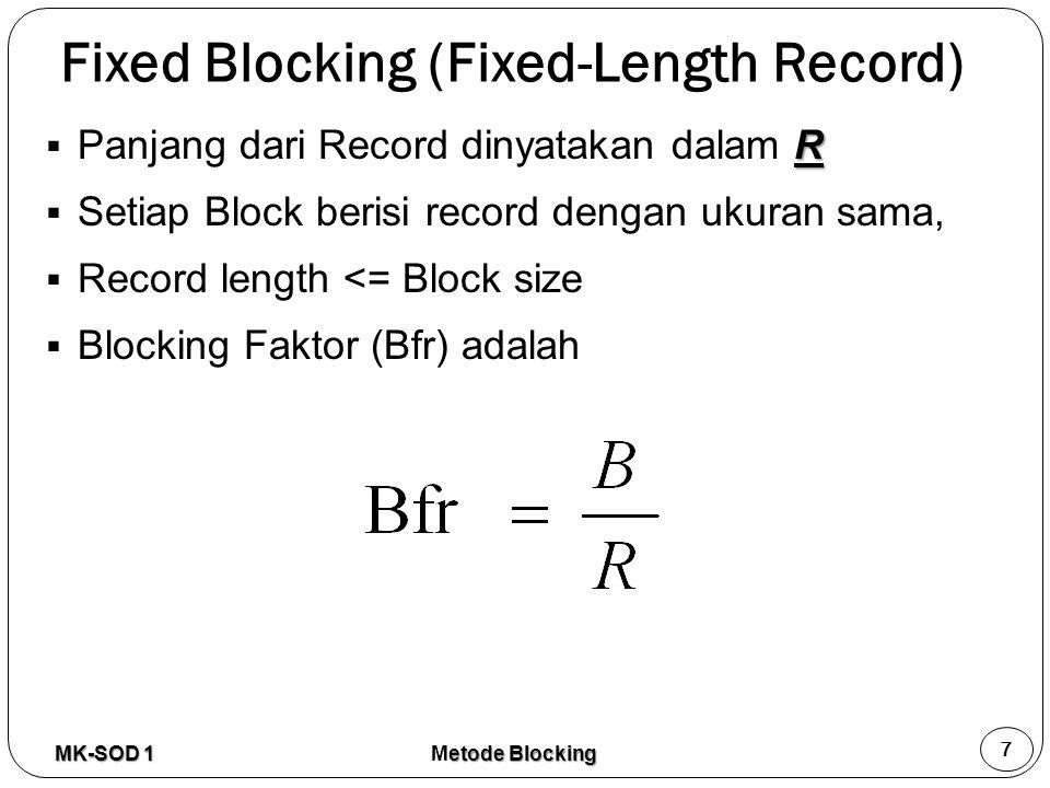 Fixed Blocking (Fixed-Length Record)