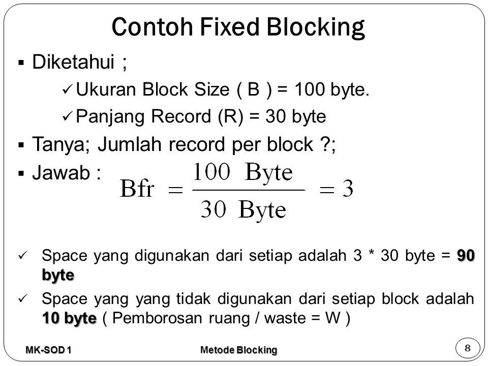 Contoh Fixed Blocking Diketahui ; Tanya; Jumlah record per block ;