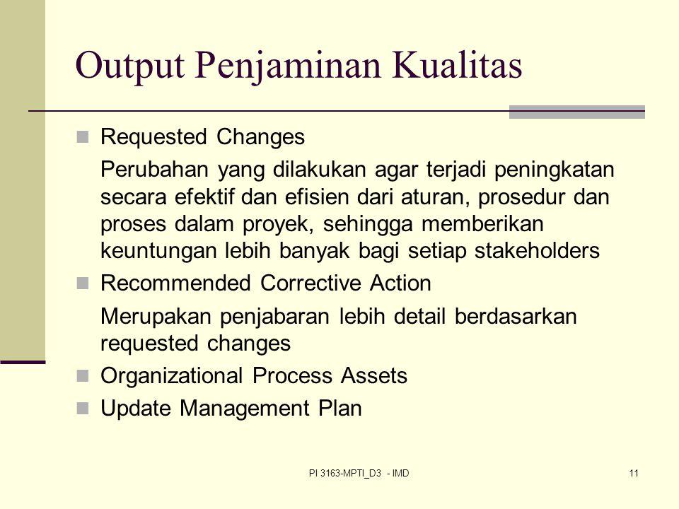 Output Penjaminan Kualitas