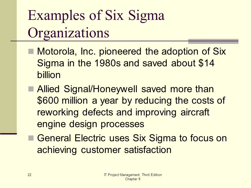Examples of Six Sigma Organizations
