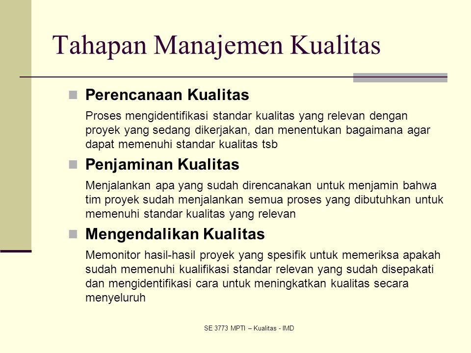 Tahapan Manajemen Kualitas