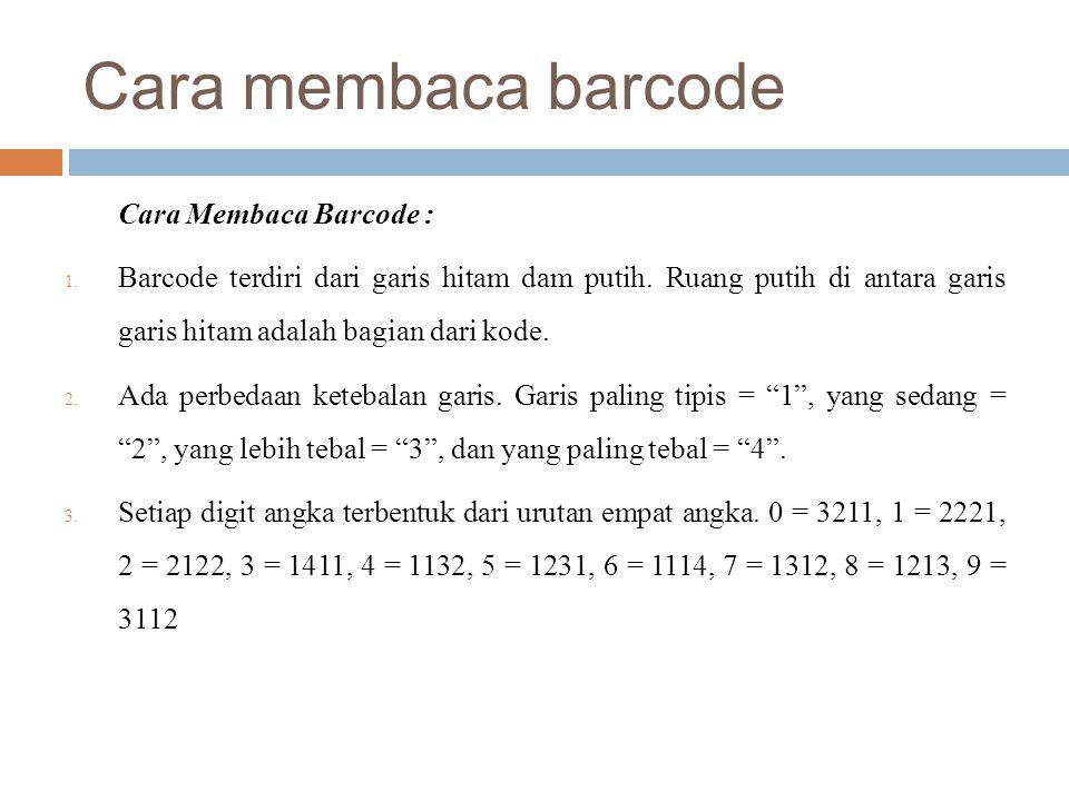 Cara membaca barcode Cara Membaca Barcode :