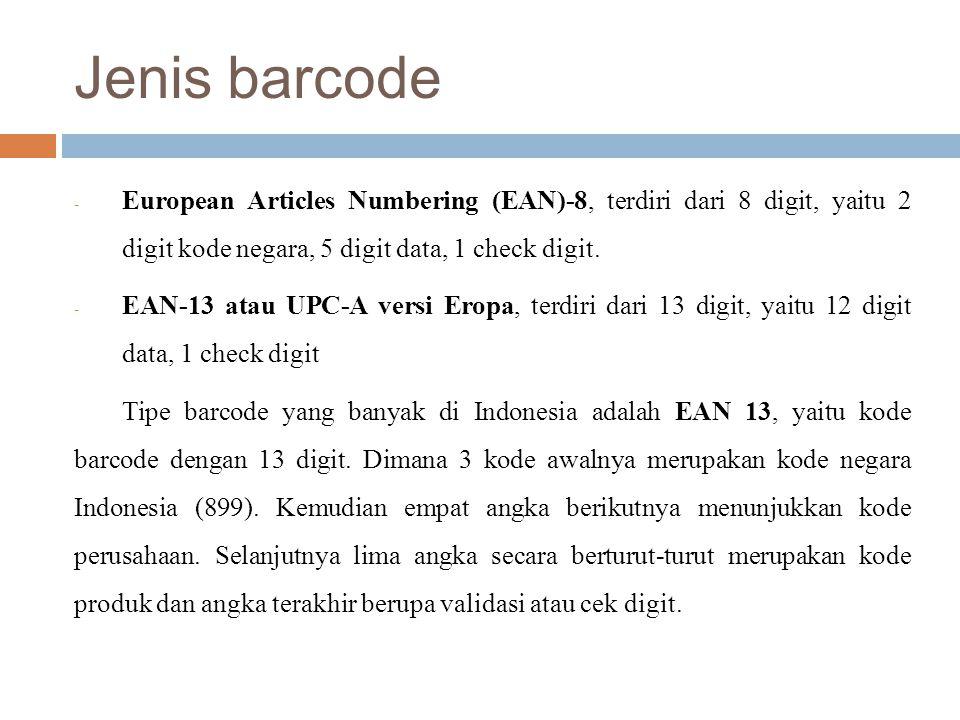 Jenis barcode European Articles Numbering (EAN)-8, terdiri dari 8 digit, yaitu 2 digit kode negara, 5 digit data, 1 check digit.
